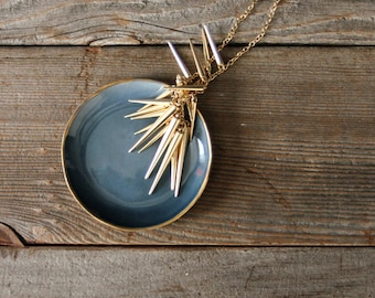 Deep Blue Jewelry/Ring Organic Circular Dish with Burnished Gold Rim