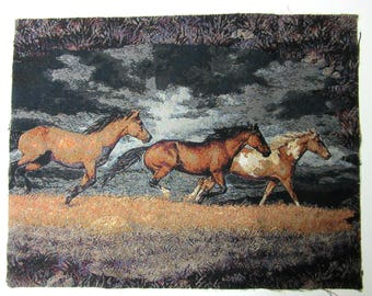 Tapestry Panels Horse Ranch Wild Horses Stallions  Wall Hanging Pillow Panels Upholstery Fabric