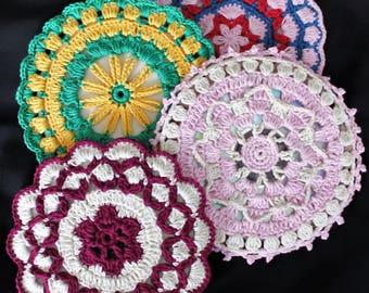 Crochet Mandala Coasters, Crochet CD Costers, HandMade Coasters, Drink Coasters, Mandala Crochet, Mandala Crochet Coasters, Mandala Coasters