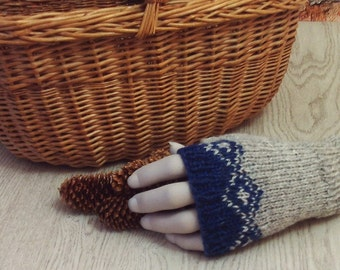 British wool grey blue fingerless gloves fairisle hand knitted wristwarmers handmade in UK