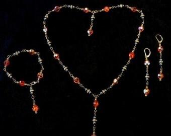30% OFF CLEARANCE SALE Swarovski Hyacinth Ab Crystal Mystic Black Faux Pearl Bead 14k Gf Necklace Bracelet Earrings Parure