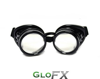 GloFX Comfort Padded Black Diffraction Goggles Desert Burning Rave Exterior Glass Lens Adjustable Elastic Band Rave Steampunk EDM
