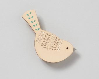 Wooden Bird Brooch - Bird Brooch - Nuthatch