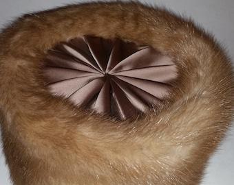 Vintage Mink Hat 1960's Fur Pillbox Hat Beige Satin Crown Blonde Mink Fur Trim  Size 22 Made by Gwen Pennington  1960s