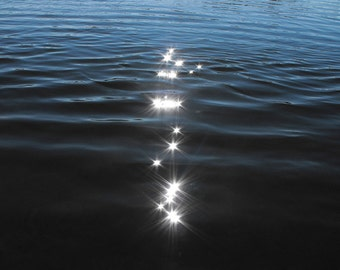Sparkles on Navy Water - Abstract Photo - Minimal Print in Shades of Blue