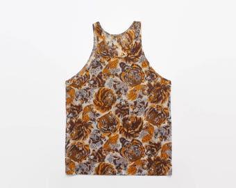 Vintage 70s CATS TANK Top / 1970s Nylon Leopard Lion Tiger All Over Print Undershirt L