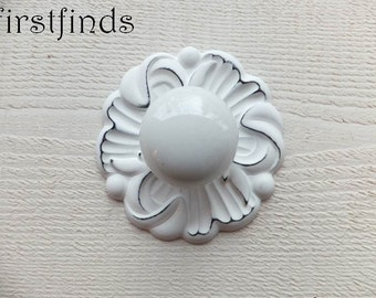 1 Shabby Chic White Knobs Round Backplate Drawer Hardware Painted Furniture Cabinet Door Pull Cottage Cupboard Distressed ITEM DETAILS BELOW