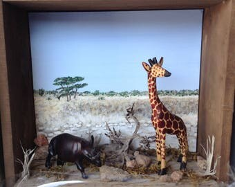 Miniature Safari Shadow Box