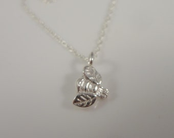 Small bee pendant necklace Sterling Silver