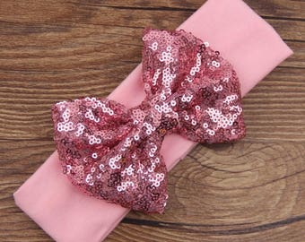 Headband with glitter bow, headband with sequence bow, sequence bow