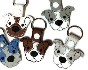 Smiling Pitbull Key Fob Key Chain - Pittie key chain - Pitbull lover gift- dog key chain- mom's day gift - dad day's gift,