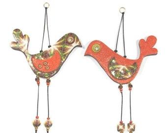 SALE 20% OFF - Valentines day gift, Love birds, wedding gift, wall decor love birds, Polymer clay birds, Bird couple in orange and gold, rom