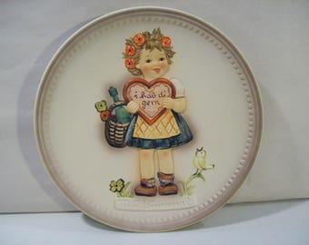Vintage Hummel Valentine Gift Porcelain Plate, #738, 1985, Goebel Collector Club Member, Germany #1 of 4