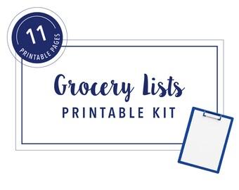 Grocery Lists Printable Kit