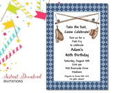 Fish Fry Invitation | Adult Birthday | Printable Editable Digital PDF File | Instant Download | ABI364DIY