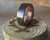 Mens Wedding Band Ironwood Lined Black Zirconium Ring - Staghead Designs