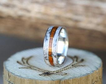 Mens Wedding Band Elk Antler & Wood Ring - Staghead Designs