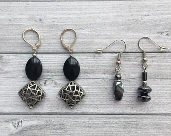 Set of 2 Earrings - dangle and drop - clip on earrings - asymmetrical earrings -  glass beads earrings