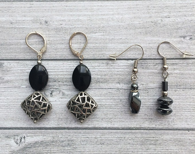Set of 2 Earrings - dangle and drop - clip on earrings - asymmetrical earrings -  glass beads earrings