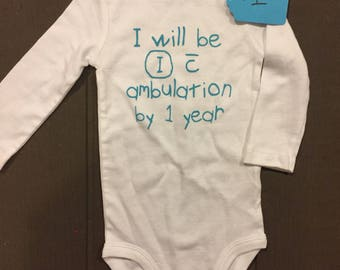 As is ambulation bodysuit 9 months long sleeve