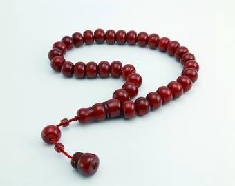 Dark Red color 33 pcs Islamic Prayer Beads Misbaha Rosary Tesbih worry 401032