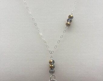 Sterling Silver Chain Necklace, Swarovski Heart Silver Necklace, Crystal Beaded Necklace, Handmade Designer Sterling Silver Chain Necklace