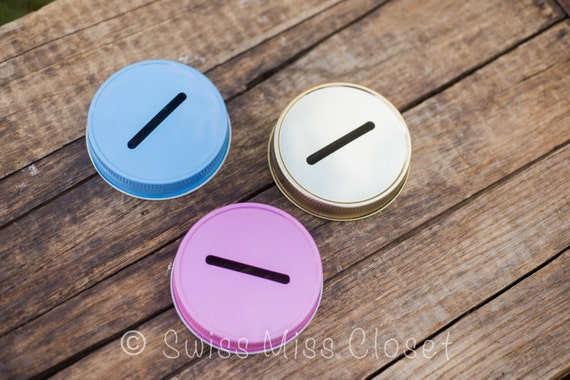 1 Piece Mason Jar Bank Lid {Choose Your Color} Baby Gift Party Favor