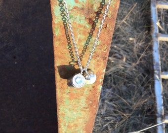 Silver Bullet Necklace Short, bullets, pearls, country necklace, bullet jewelry, bullet necklace