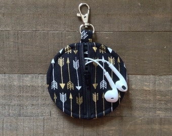 Black Arrows - Circle Zip Earbud Pouch / Coin Purse Case Holder Gold and White