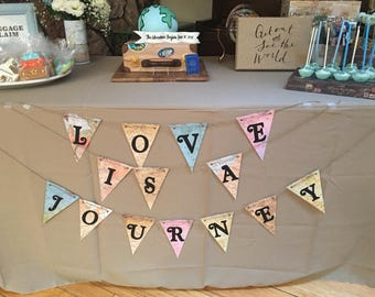 Love is a Journey Banner, Bridal Shower Decor, Travel Decor, Travel Banner, Bridal Shower Banner, Banner, Love Banner, Journey Banner