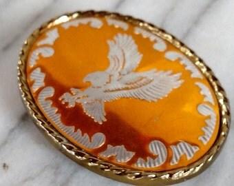 Vintage Orange Eagle Oval Belt Buckle