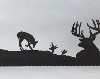 Metal Whitetail Woodland Scene Plasma Cut by Hand Repurposed Hand Saw, Wall Decor, Art