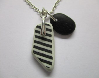 GENUINE BEACH POTTERY Necklace Sterling Silver Black White Shard Rare Black Sea Glass Real Surf Tumbled Beach Found Seaglass Jewelry  N 717a