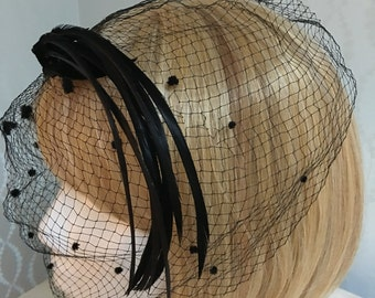 Elegant Feather and Netted Swiss Dot Hat