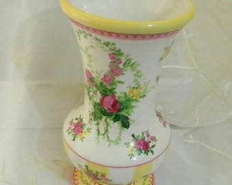 May Sale Beautiful Laura Ashley for FTD Ceramic Vase, Yellow Stripes, Pink Roses, Great for Floral Arrangements or Home Decor
