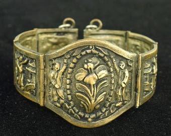 Antique Vintage Bracelet Asian Oriental Pagoda Lotus Flower ~ Lot 1215