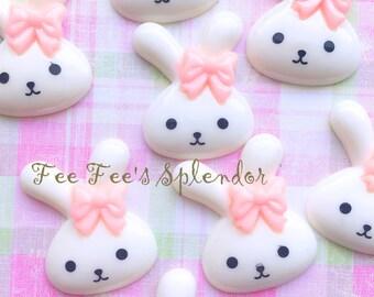 2 pc set- Bunny Love-  resin- cabochon- Flat back resin *Hair bow center*  Bunny