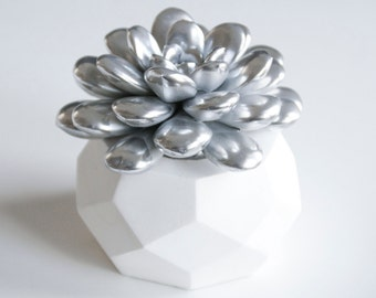 Succulent Sculpture with Interchangeable Planter, Tabletop, Desktop Accessory, Modern Minimalist Home and Office Decor