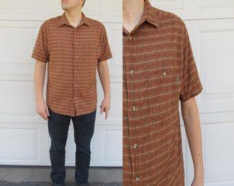 1970s mens short sleeved brown and copper shirt, L, Woolrich, textured shirt