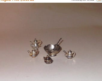 CLEARANCE Silverplated Dollhouse miniature Punch Bowl Laddle with teapot set 7 pieces