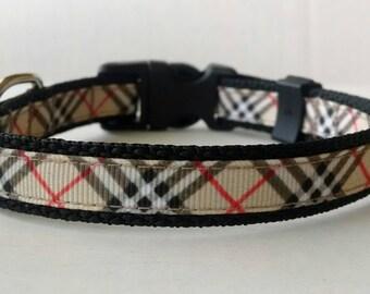 Plaid Dog Collar - Adjustable Dog Collar - Tan, Black, and Red Plaid