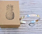 Be Here Now  Hand Stamped Inspirational Cuff Bracelet - Mantra Bracelet - Intention Jewelry