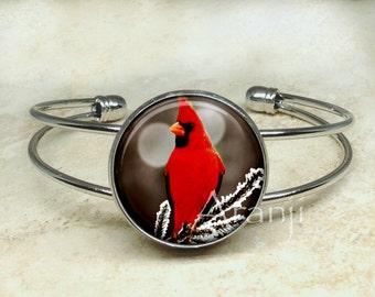 Cardinal bracelet, songbird bracelet, cardinal bangle, cardinal jewelry, cardinal cuff bracelet, Bracelet#AN156B