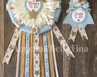 NEW Twinkle Twinkle Little Star Lt. Blue/Gold/Cream Mommy and Daddy To Be Corsage Set