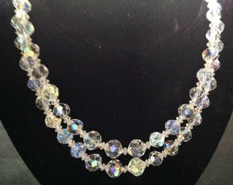 Stunning VINTAGE CRYSTAL NECKLACE With Double Strands