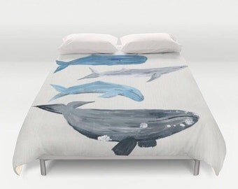 Whale Duvet Cover, whale bed cover, whale bedding, ocean duvet, nautical duvet cover, nautical duvet, nautical bedding, nautical bed cover
