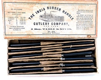 Antique Dinner Table Knives 1850's Original Box Civil War India Rubber Handle Cutlery Company as new in box