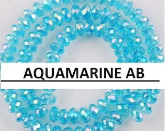 36pcs 6x8mm Blue Crystals 8mm LIGHT Aqua AB Rondelles Turquoise Like 8x6mm AQUAMARINE Ab 5040 Swarovski Crystal Diy Jewelry Making Beading S