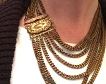 Gorgeous Vintage Bib Multi Chain Tiered Necklace with Fancy Box Clasp