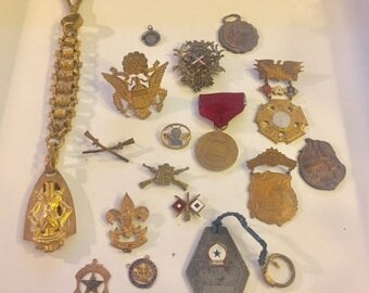 Vintage Lot Military Medals, Navy, Rifle, Badges, Patriotic Pins, GAR, Souvenir Pins